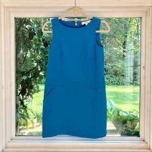 Blue shift dress with pockets